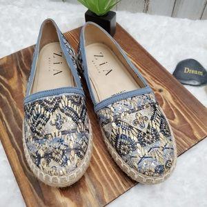 Zia Sequin Espadrille Flats Blue Size 7